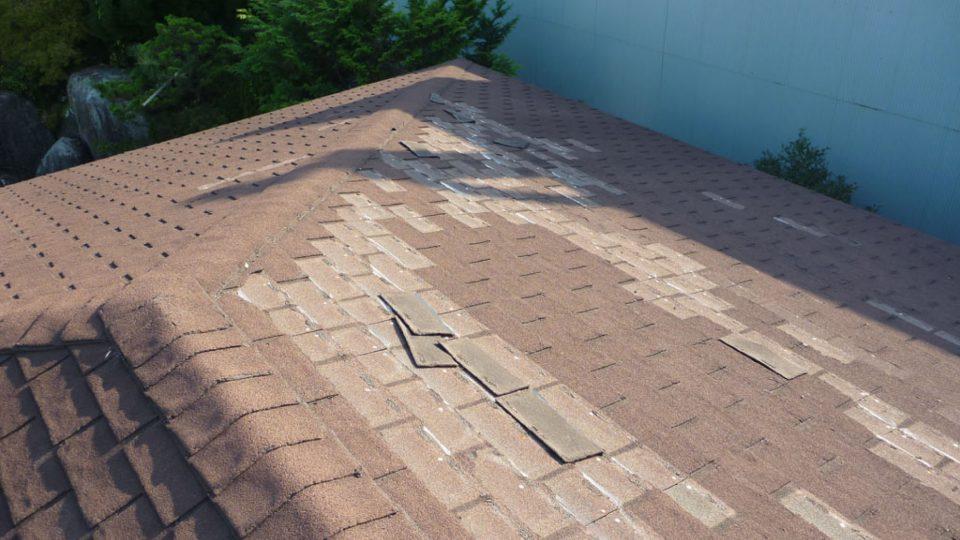 施工前 屋根 頭上より見た図 傷んだ箇所も目立っていた